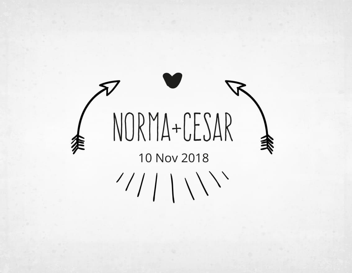 sello-boda-flechas-norma-y-cesar